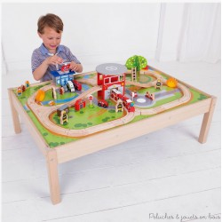 Bigjigs Grand Circuit de Train en Bois Univers des urgences + table BJT049