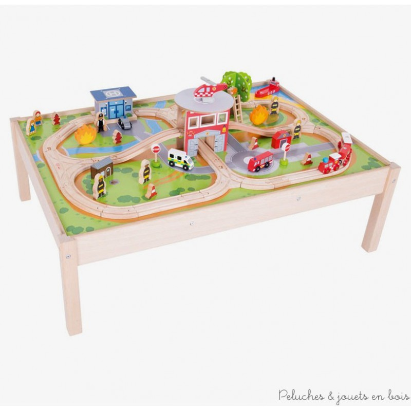 Bigjigs Grand Circuit de Train en Bois Univers des urgences + table  ~ Table Et Circuit Train Bois