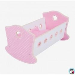 Lit berceau rose et blanc en bois pour poupée
