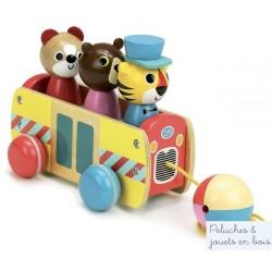 Vilac, Le bus des formes jouet à trainer + encastrement