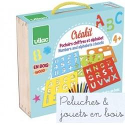 Vilac, Créakit ABC, pochoirs chiffres et lettres