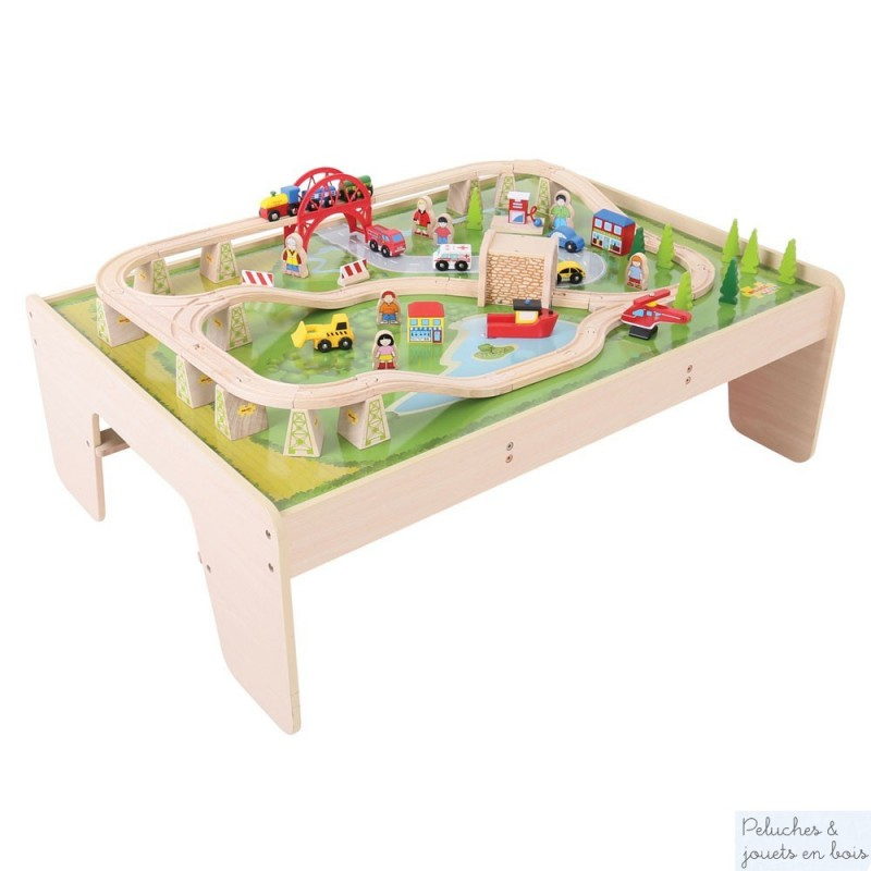 en bois > Train et circuit de train > Circuit de train en bois + table  ~ Table Et Circuit Train Bois