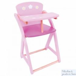 Chaise haute rose en bois pour poupée Jouet Bigjigs