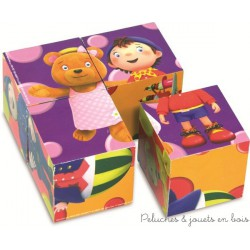 4 cubes en bois Oui-Oui