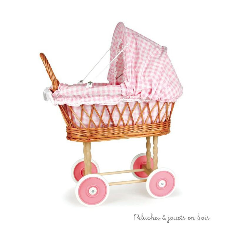 landau en osier capote garniture vichy rose sign egmont toys 3 ans. Black Bedroom Furniture Sets. Home Design Ideas