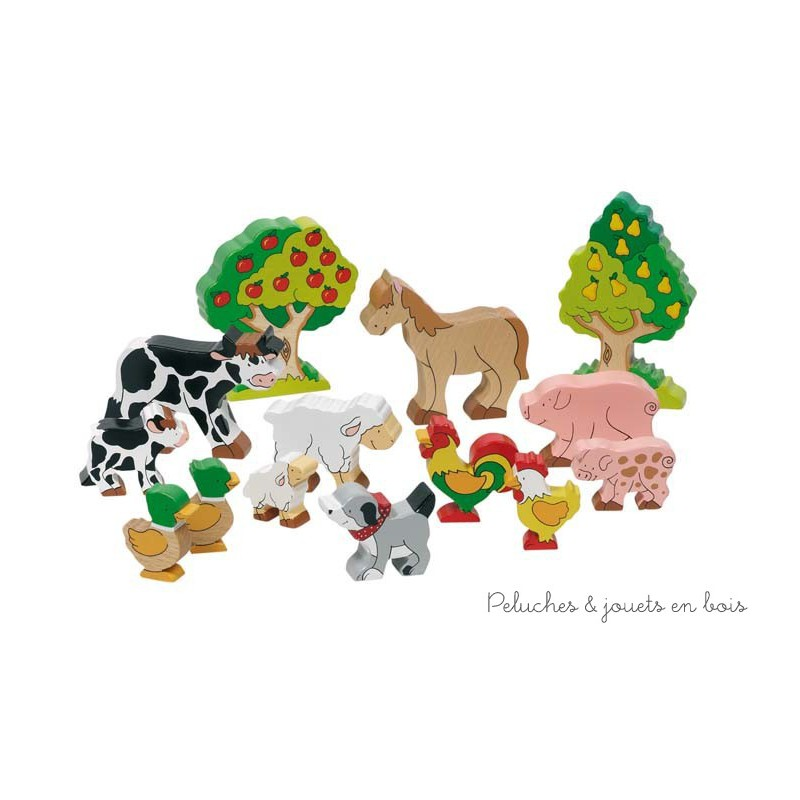14 animaux de la ferme en bois peint peluches et jouets en bois. Black Bedroom Furniture Sets. Home Design Ideas