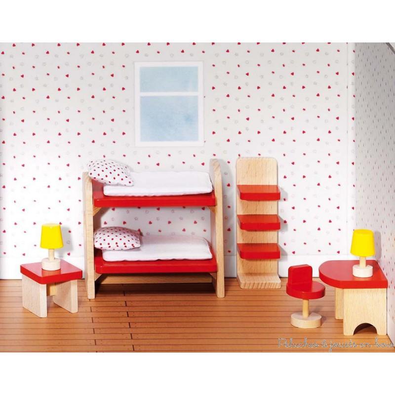 Chambre coucher des enfants de maison de poup e en bois goki 3 ans - Meubles chambre enfants ...