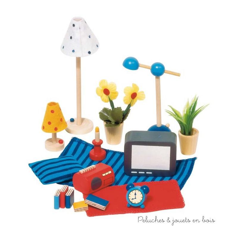 Accessoires s jour et chambre coucher pour maison de poup e peluches et jouets en bois for Accessoires chambre