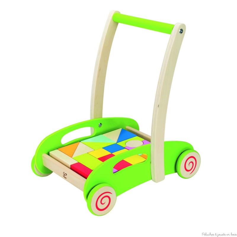 chariot de marche avec cubes hape peluches et jouets en bois. Black Bedroom Furniture Sets. Home Design Ideas