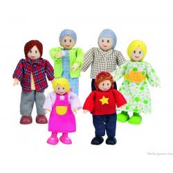 famille de 6 poupées souples en bois moderne Hape