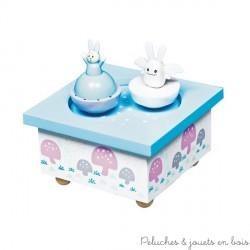 Manège musical bois Ange Lapin Bleu ciel