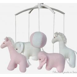 Mobile musical girafe et éléphant rose et blanc