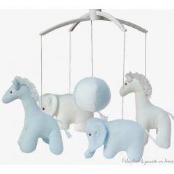 Mobile musical girafe et Eléphant Bleu ciel et blanc