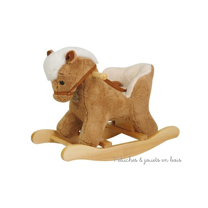 histoire d 39 ours cheval bascule b b avec si ge ho1210 peluches et jouets en bois. Black Bedroom Furniture Sets. Home Design Ideas