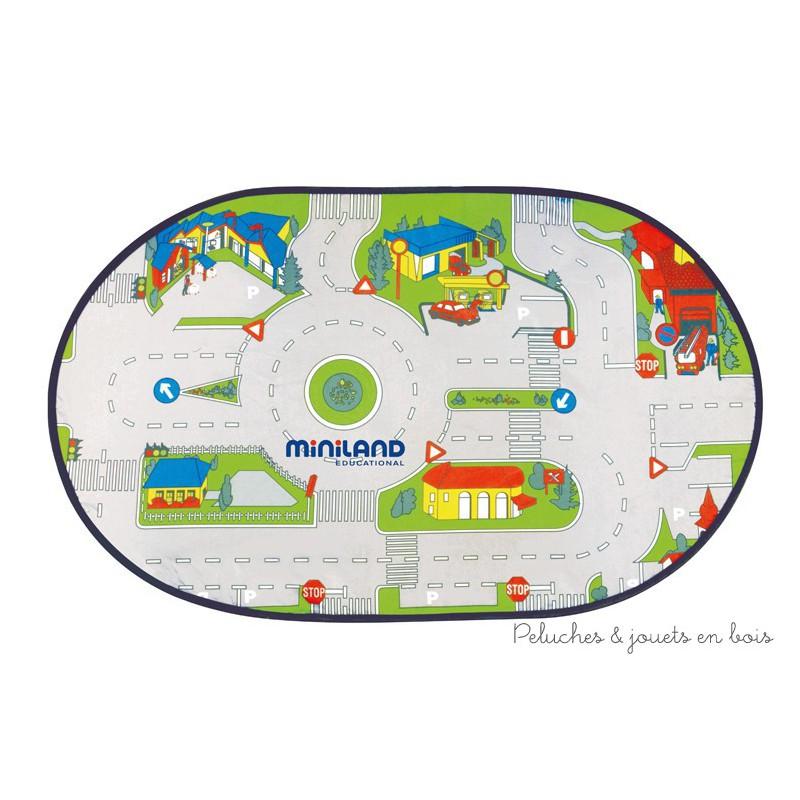 tapis de jeu miniland circuit pour petites voitures minimobil 3 ans. Black Bedroom Furniture Sets. Home Design Ideas