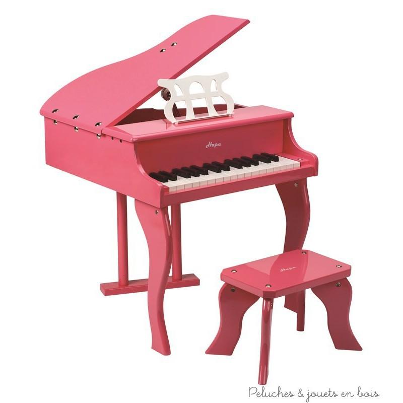 Grand piano à queue rose en bois Hape  Peluches et jouets  ~ Piano En Bois Jouet
