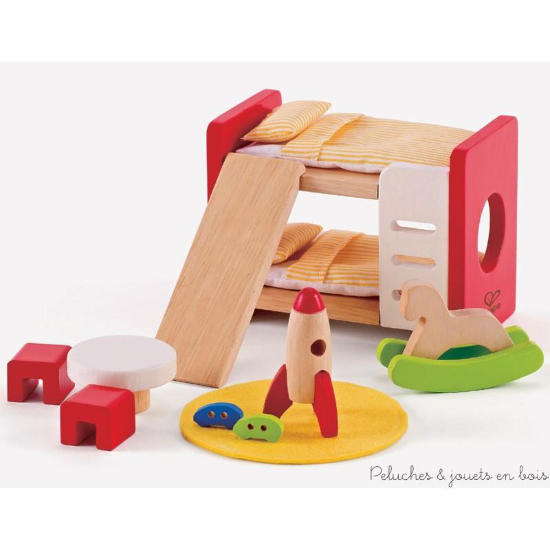 Meubles pour maison de poup es chambre coucher d 39 enfants hape peluches et jouets en bois - Meuble pour chambre d enfant ...