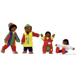 Famille Africaine, 4 poupées articulées