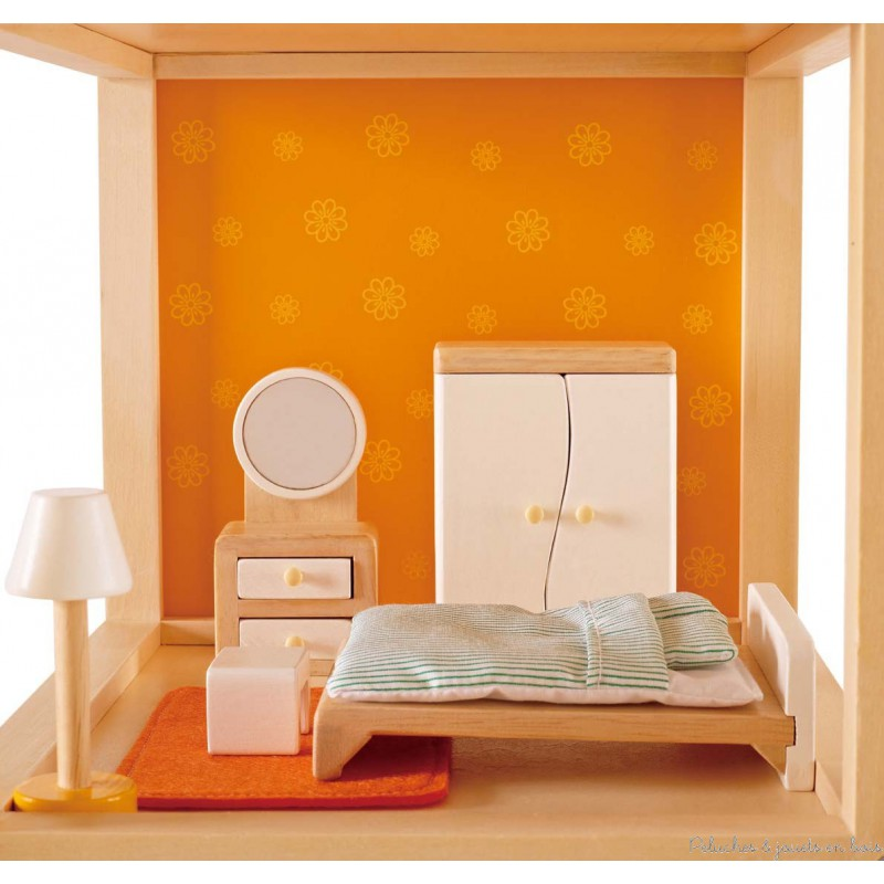 meubles pour maison de poup e chambre coucher des parents hape peluches et jouets en bois. Black Bedroom Furniture Sets. Home Design Ideas