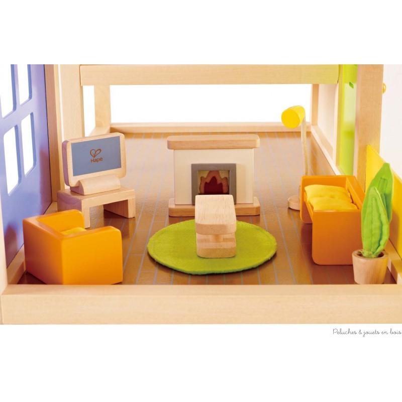 meubles pour maison de poup es salon multim dia hape peluches et jouets en bois. Black Bedroom Furniture Sets. Home Design Ideas