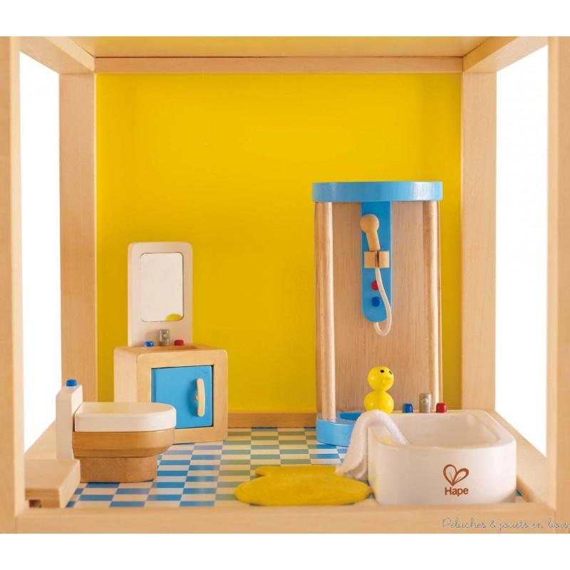 Meubles pour maison de poup es salle de bain familiale hape peluches et jo - Meuble salle de bain maison ...