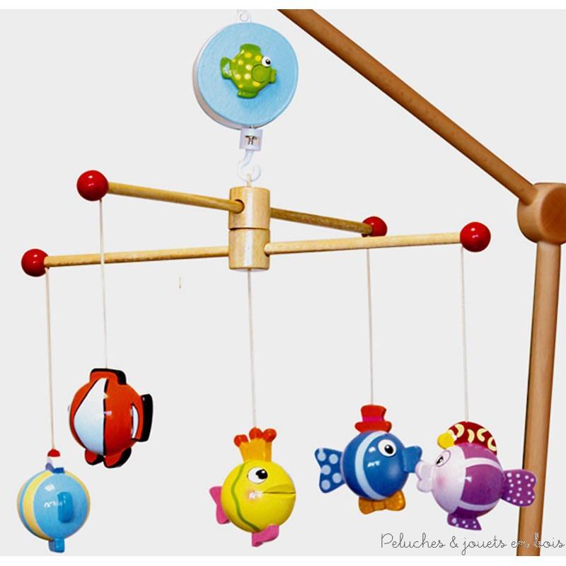 mobile musical poissons dr les peluches et jouets en bois. Black Bedroom Furniture Sets. Home Design Ideas