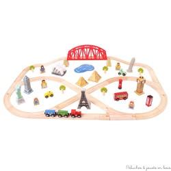Circuit de train en bois autour du monde