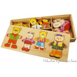 """Boite de jeux puzzle """"la famille ours"""" en bois à habiller"""
