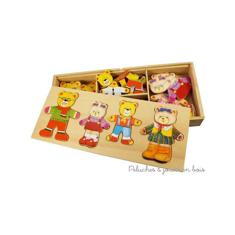 bigjigs boite de jeux puzzle la famille ours en bois habiller peluches et jouets en bois. Black Bedroom Furniture Sets. Home Design Ideas