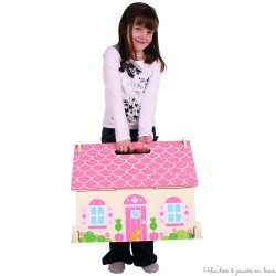 Bigjigs Petite maison de poupée rose en bois avec poignée