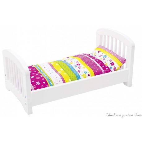 Lit en bois pour poupée avec linge de lit Susibelle