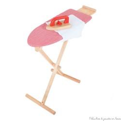 Table et fer à repasser rouge jouet d'imitation en bois Bigjigs