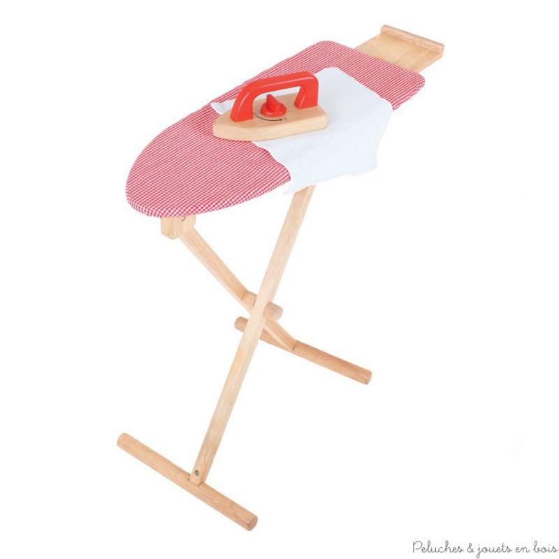 Bigjigs table et fer repasser rouge peluches et jouets - Table fer a repasser ...