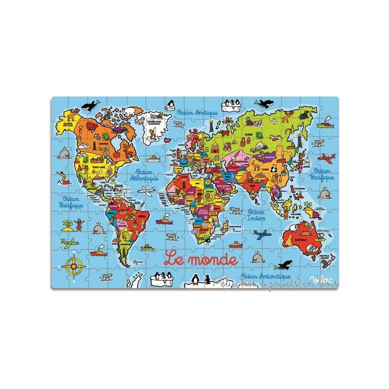 Grand puzzle carte monde valise jeu vilac - Carte cadeau maison du monde ...