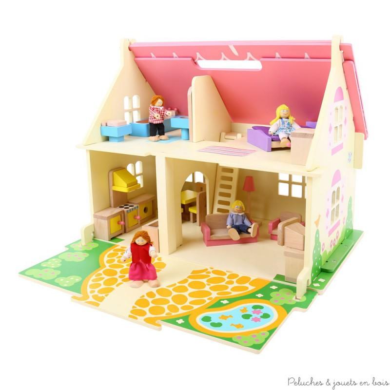 Petite maison de poup e rose en bois avec poign e peluches et jouets en bois - Petites maisons en bois ...