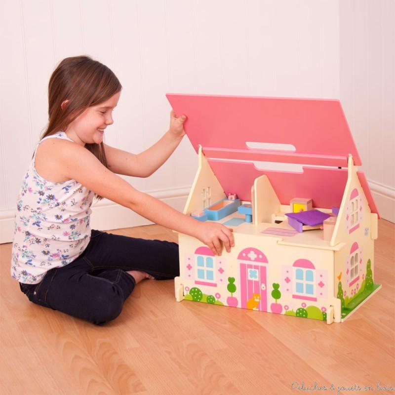 Maison de poup es rose en bois avec poign e meubles famille inclus bigjigs - Petite maison en bois ...