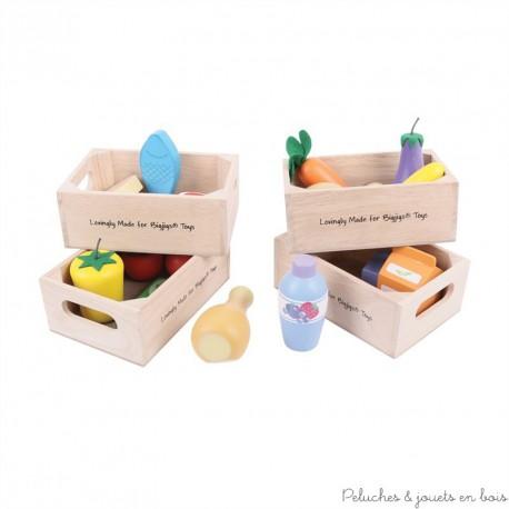 Caisse de viandes, poissons et produits frais en bois