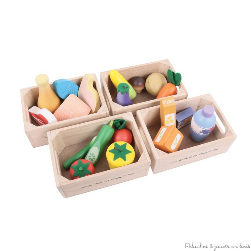 bigjigs caisse de viandes poissons produits frais en bois peluches et jouets en bois. Black Bedroom Furniture Sets. Home Design Ideas