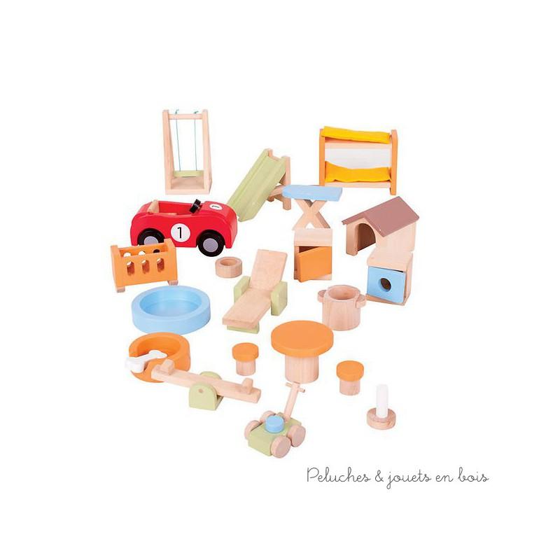 Bigjigs accessoires maison jardin voiture de maison de for Maison de jardin en bois jouet