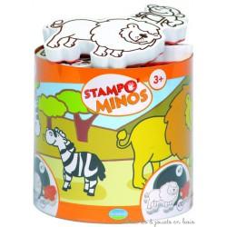 Stampo Minos Animaux de la savane 10 tampons + encreur
