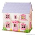 Bigjigs Grande maison de poupée rose, blanche et mauve