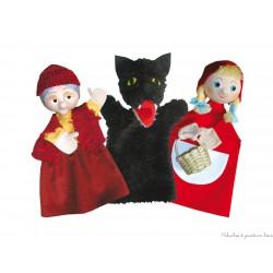 Ensemble de 3 marionnettes à main Le Petit Chaperon Rouge