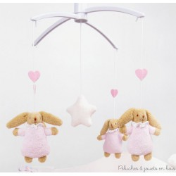 Trousselier Mobile musical Lapin Nid d'Ange Rose