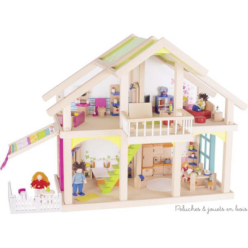 Maison de poupée 2 étages Susibelle + balcon + véranda + Goki 3 ans+