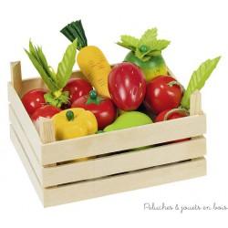 Goki fruits et légumes en bois dans une cagette