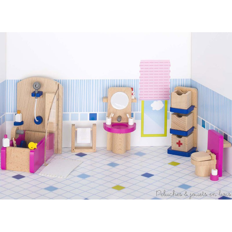 Salle de bain 22 meubles en bois pour maison de poup e goki 3 ans - Meuble salle de bain maison ...