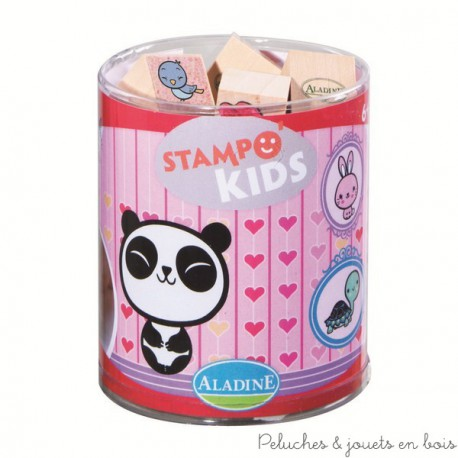 stampo kids 6 ans animaux style japonais 15 tampons + encreur