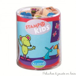 stampo kids 6 ans animaux variés 15 tampons + encreur