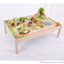Bigjigs Grand Circuit de Train en Bois Univers des Dinosaure + table