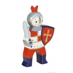 Le Coin des Enfants, Figurine en bois peint Chevalier Epée Rouge